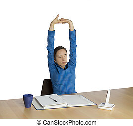 Business woman stretching during work - Business woman is...