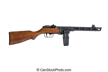 Old Machine Gun - Russian submachine gun World War II era...