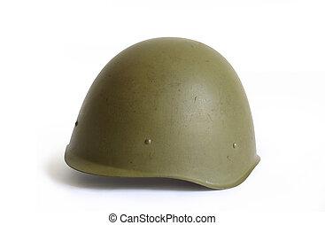 militaire, vieux, casque