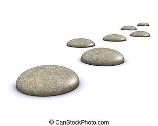 3d Stepping stones - 3d render of a pathlike arrangement of...