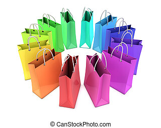3d Rainbow shopping bags - 3d render of shopping bags in...
