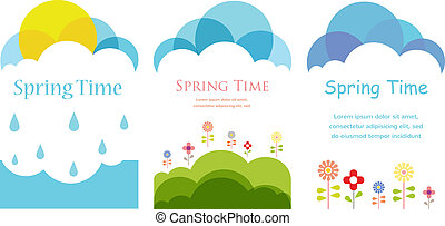 Spring time. Three cards with clouds, sun and flowers