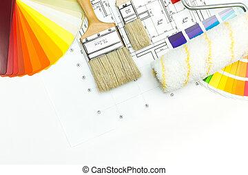 casa, trabajo, herramientas, pintor