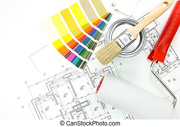 Color swatches, brush, paint pot, paint roller and plans -...