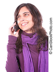 Young beautiful girl calling on cellphone