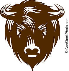 Buffalo Head - Illustration of buffalo head isolated on...