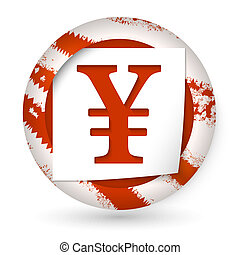 red abstract icon with paper and yen sign
