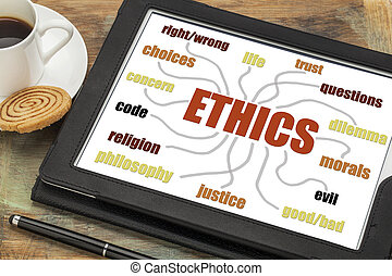 ethics word cloud or mind map on a digital tablet with a cup...