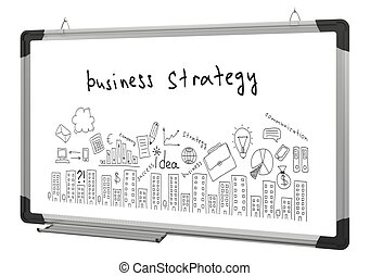 White magnetic board and business sketches isolated on white...