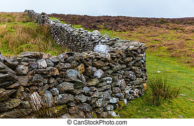 Manmade stone wall in Wicklow Mountains