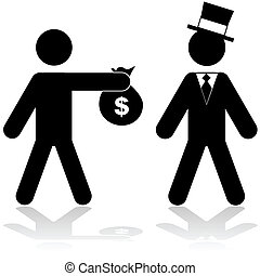 Giving money - Concept illustration showing a man giving a...
