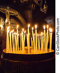 candles located before calvary Jerusalem