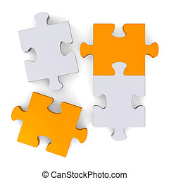 3d puzzle with missing pieces on white, top view - 3d orange...