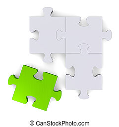 3d puzzle with green missing piece on white, top view
