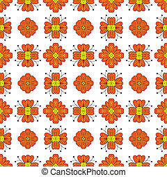 Orange flowers - Seamless pattern made of orange floral...