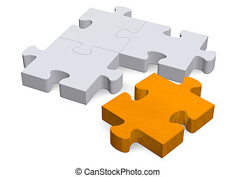3d puzzle with orange missing piece on white, perspective -...
