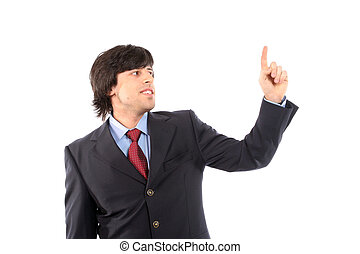 young business man presses button, isolated on white...