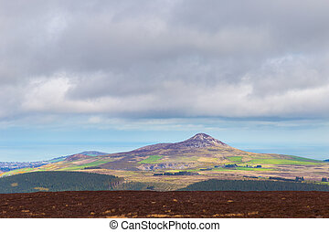 Distant view of Sugar Loaf Mountain in Wicklow