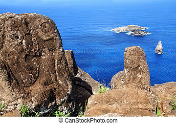 Petroglyphs on Easter Island - Horizontal image of...