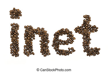 Coffee beans stacked to form the word inet. Isolated on...