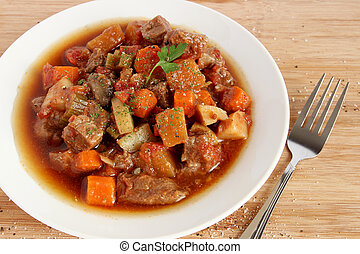 Beef stew in white plate