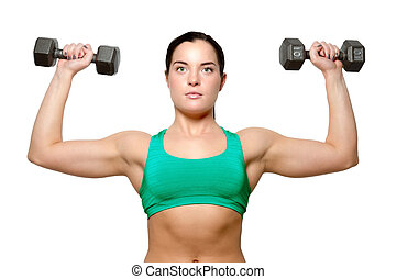 Female exercies with free weights to build a toned and...