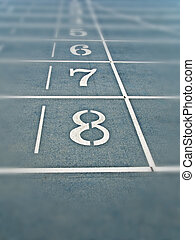 Track Lanes - The eighth lane on a Olympic style running...