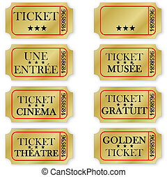 Set of french golden tickets - Set of french golden...