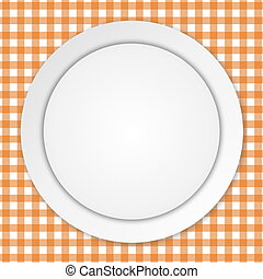 White plate on orange tablecloth - White empty plate over...
