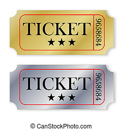 Precious tickets - Two golden and silver tickets isolated in...