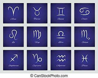 Icons with zodiac signs - Set of icons with astrological...