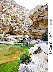 Wadi Shab Oman - Image of Wadi Shab in Oman with river,...