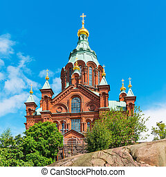 Uspenski Cathedral in Helsinki, Finland - Scenic summer view...