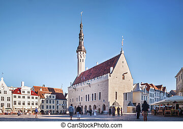 Centre of Capital City of Estonia, Tallin - Gothic Town Hall...