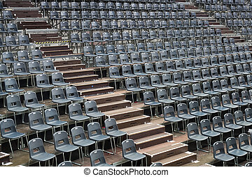 Before the openair concert - Plenty of grey seats arranged...