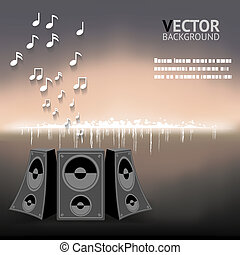 Abstract Night Music Notes Speaker Background Vector Illustration