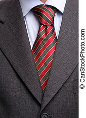 Detail of suit and tie, isolated
