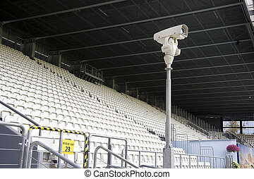Security camera monitoring empty stadium