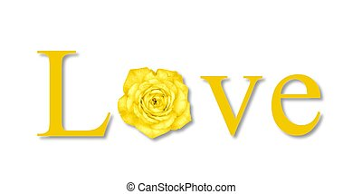 Love Flower Yellow - The text love with a flower on white...