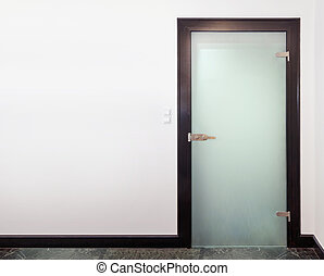 Modern closed glass door - Modern glass door - wood and...