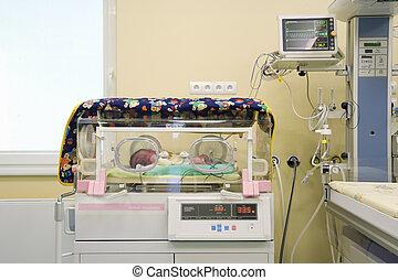 Baby in incubator - Baby in  modern incubator in hospital