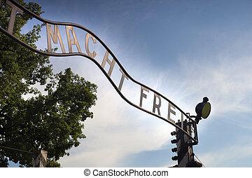 Arbeit Macht Frei (Auschwitz) - The gates to the former Nazi...