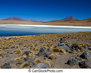 Blue lagoon of Altiplano in Bolivia - Blue lagoon under the...