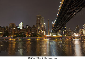 New York by night - Midtown of Manhattan and Queensborough...