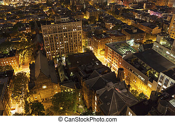 Huge people settlement from above, NYC - View of Brooklyn,...