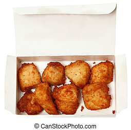 Chicken Nuggets in A Fast Food Restaurant To Go Box
