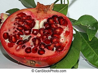 Pomegranate red with beans very juicy and leaves -...