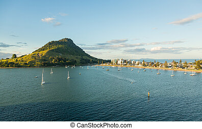The Mount at Tauranga in NZ - The bay and harbour at...