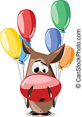 vector donkey with balloons - vector illustration cartoon...
