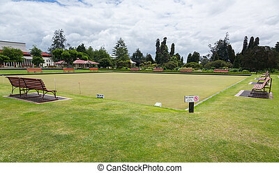 Bowling green in Rotorua in Government Park NZ - Smooth...